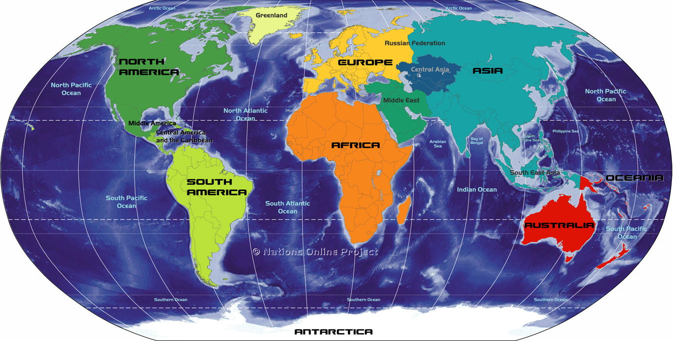 Small Map Of Continents Of The World - Map showing continents and oceans