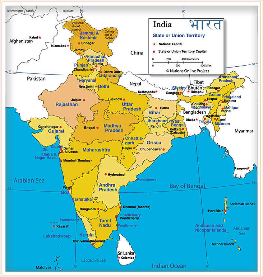 Administrative map of India showing India's States and Union