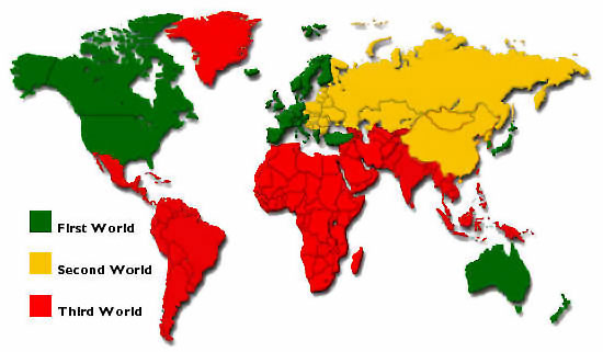 first, second and third world map
