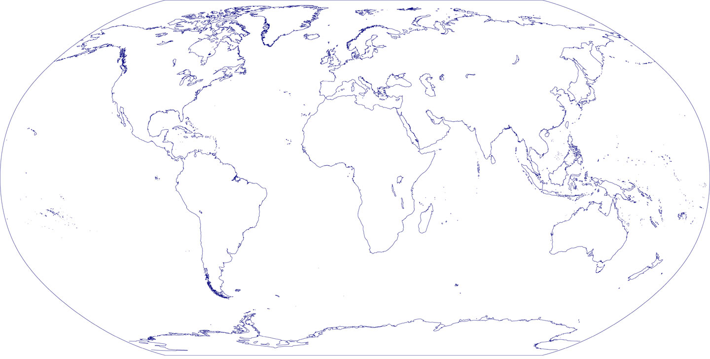 Map Of The World Without Countries.World Outline Map