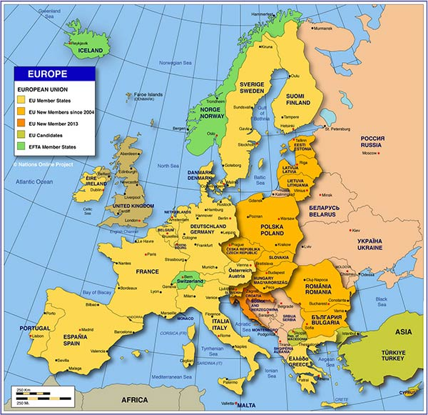 Europe Map showing European countries