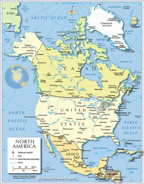 Map of North America including Greenland