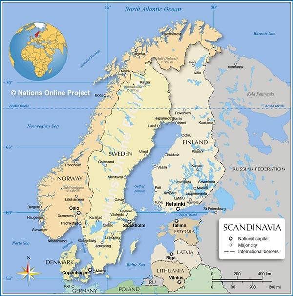 Scandinavia Map showing Scandinavian countries