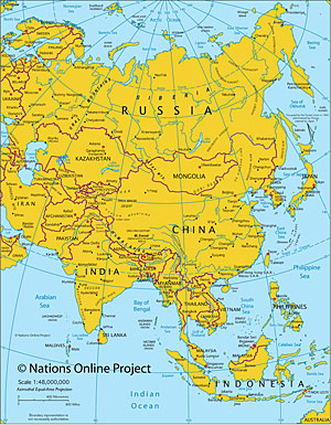 Maps Of The World Political And Administrative Maps Of Continents - Simple map of asia for kids