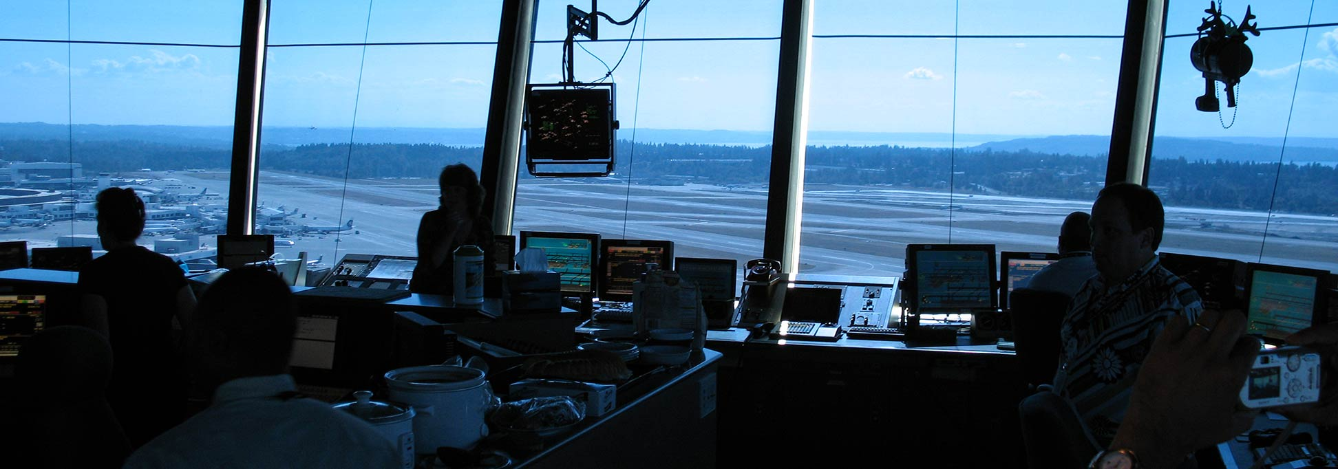 Interior of the control tower of Seattle-Tacoma (SeaTac) International Airport