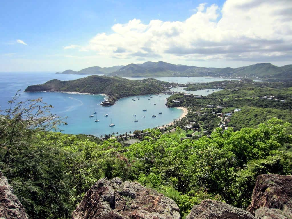 English Harbour and southern Antigua from Shirley Heights