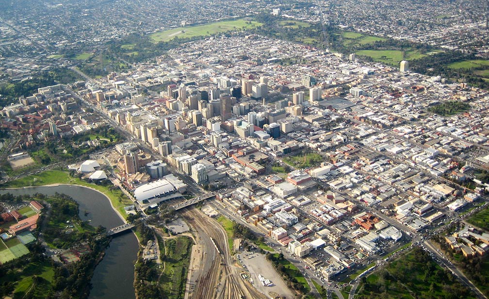 aerial view of adelaide city center south australia sa