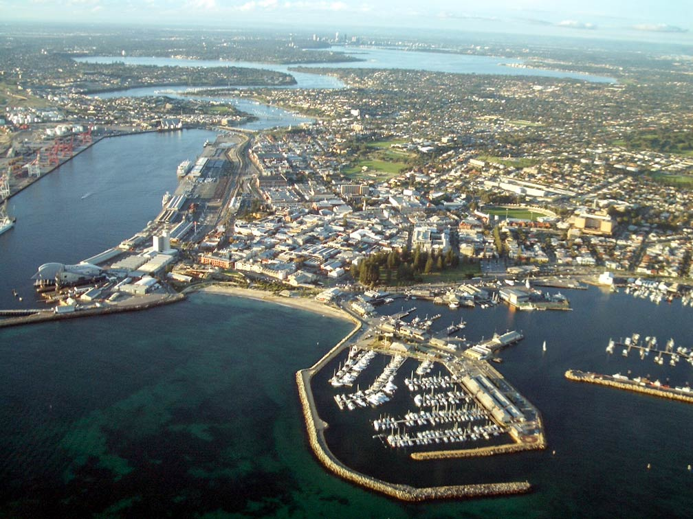 Aerial view of Fremantle with Perth city, South Australia (SA)