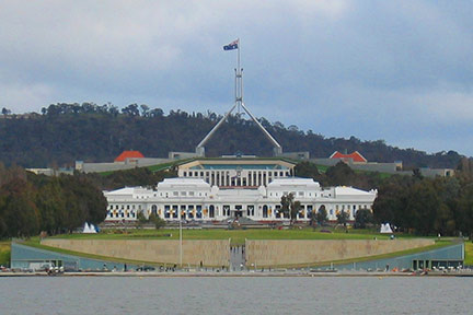 City of Canberra, Lake Burley Griffin, Commonwealth Place and Old Parliament House, Parliament House
