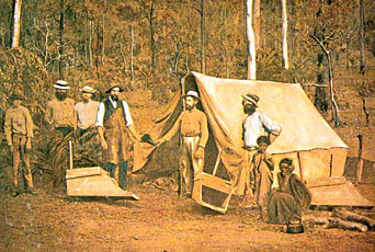 Settlement of prospectors during the gold rushes in Australia