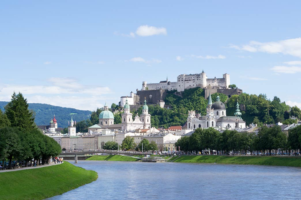 Salzburg castle in Salzburg on the banks of the Salzach river