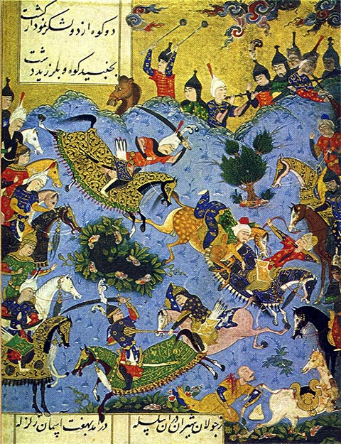 Miniature painting of the battle between Shah Ismail I of Iran and Farrukh Yassar the Shirvanshah