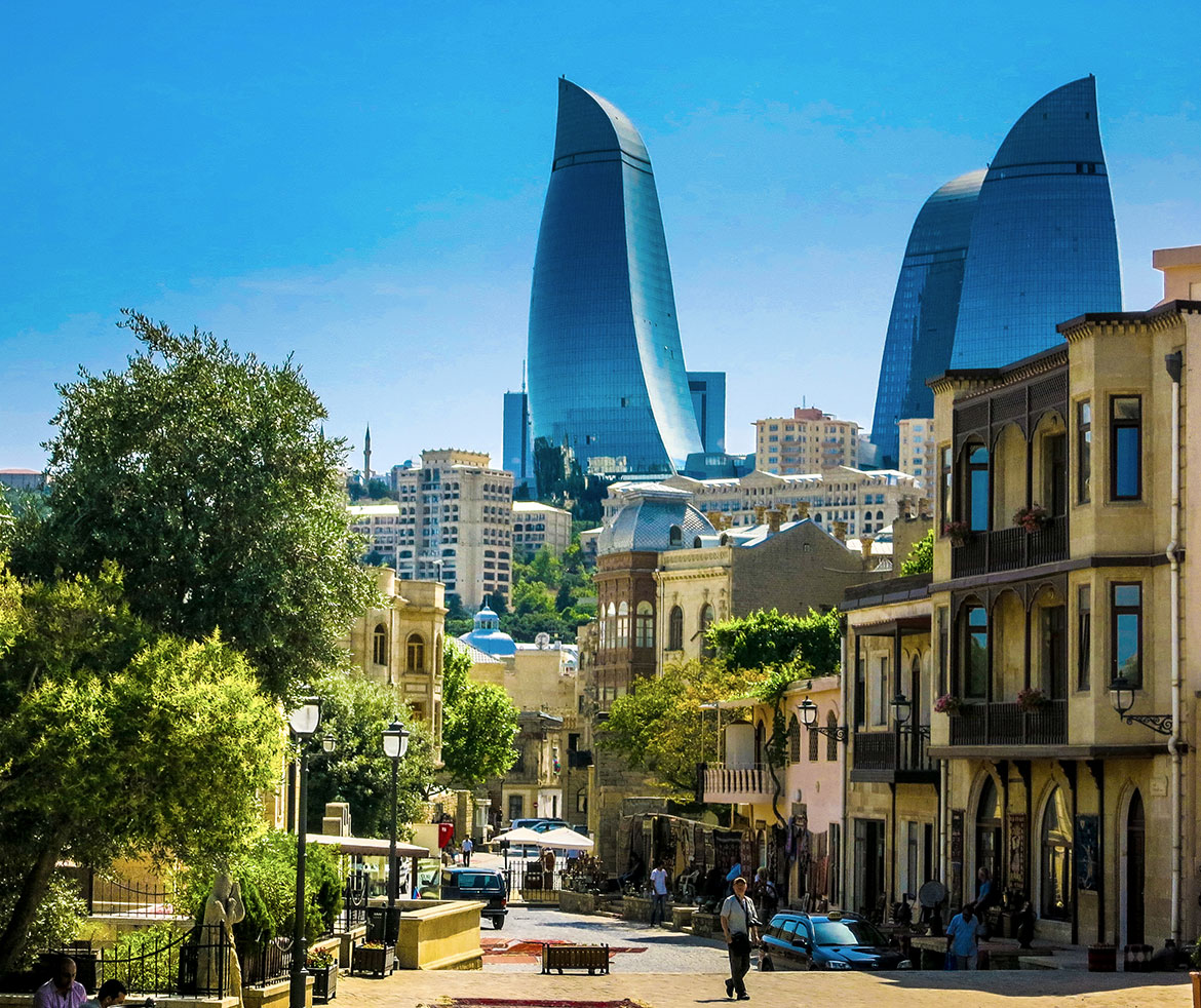 Azerbaijan, City of Baku, in background the 'Flame Towers'