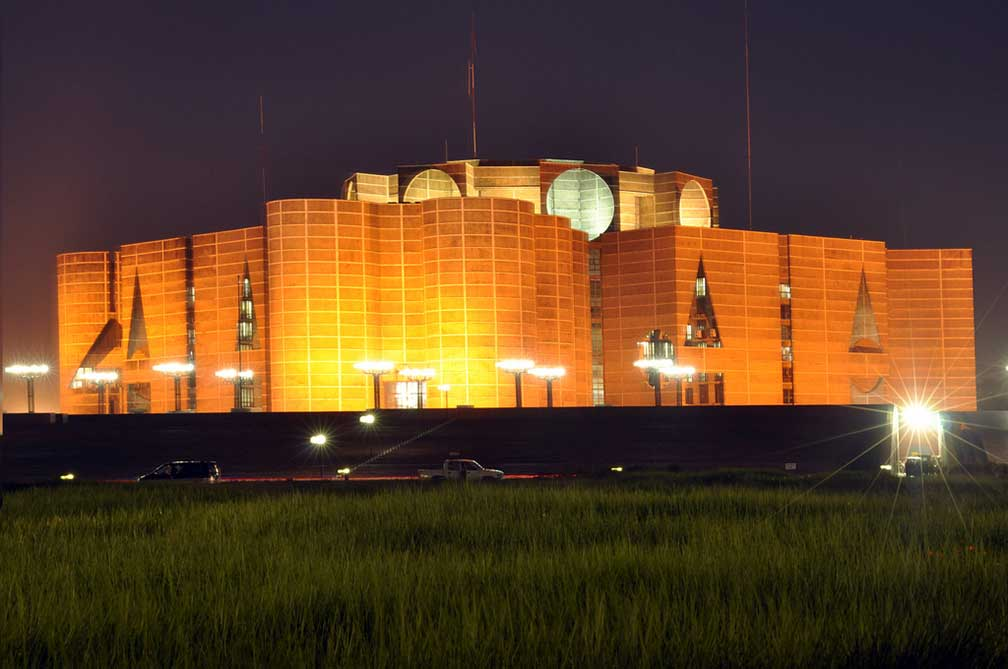 National Parliament of Bangladesh at night