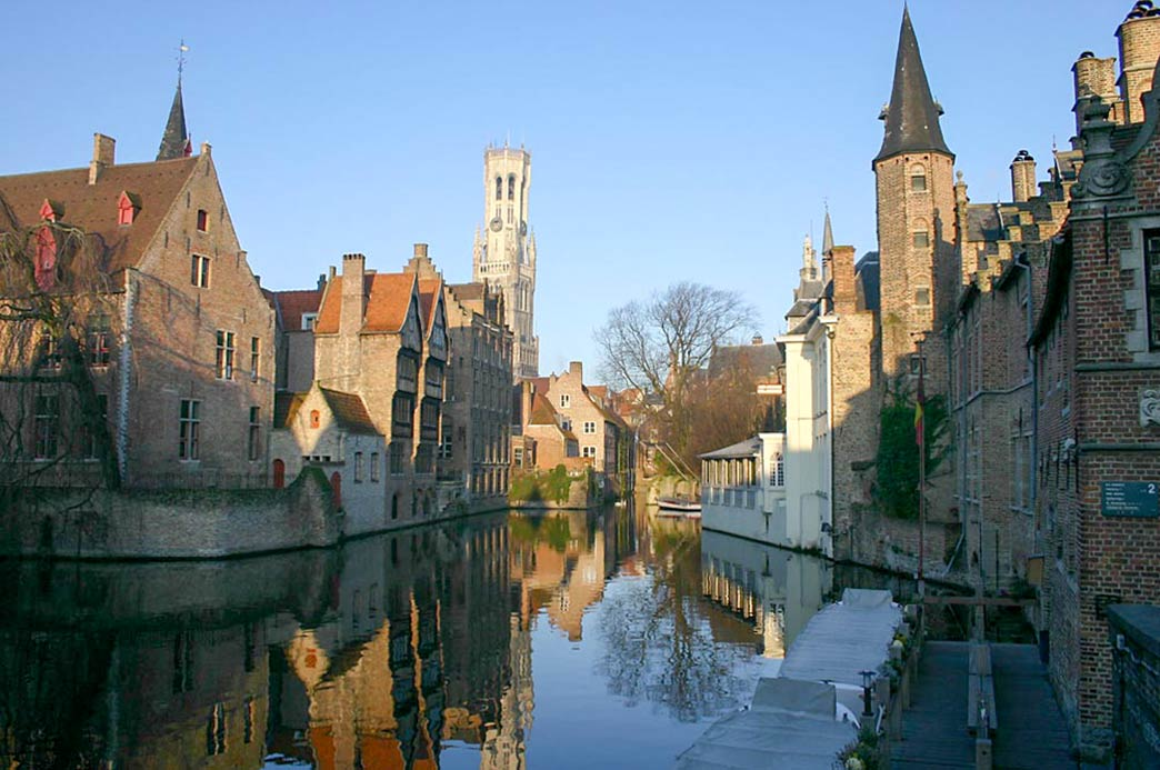 Brugge with canal and belfry
