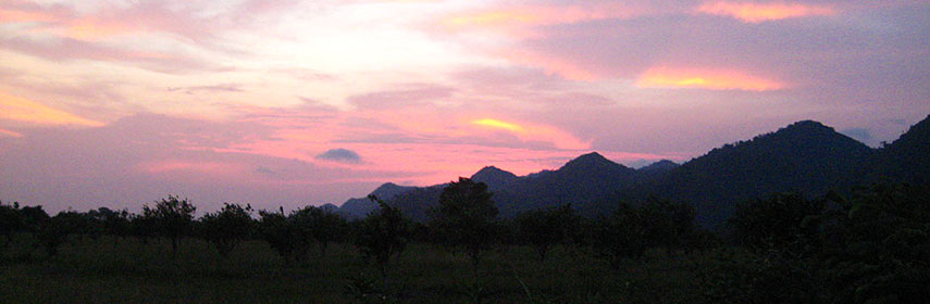 Sunset behind Santa Ana mountains, Cotton Tree Lodge, Belize