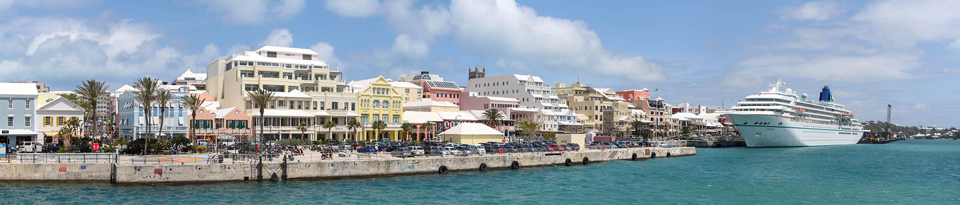 Hamilton Bermuda with cruiseship as seen from ferry