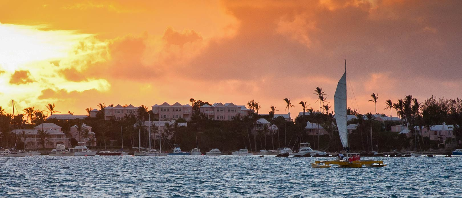 View of Bermuda from the sea at sunset