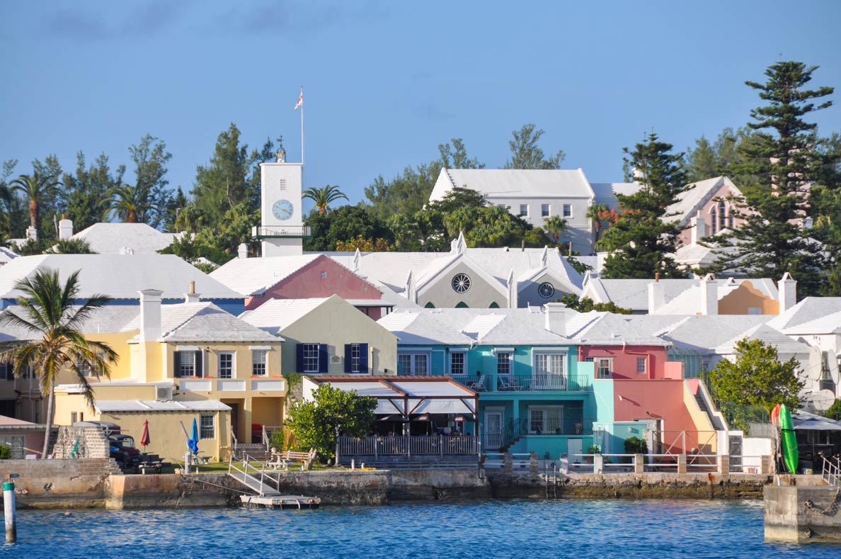 Historic houses of Saint George's on the waterfront with St. Peter's Church, Bermuda