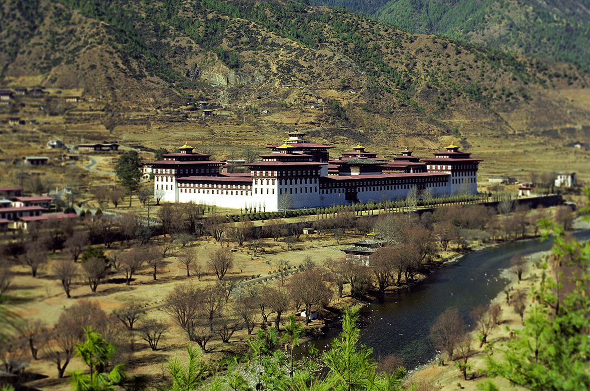 Tashichho Dzong, seat of the Bhutanese government in Thimphu