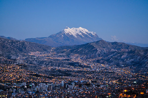 La Paz from El Alto with Illimani mountain