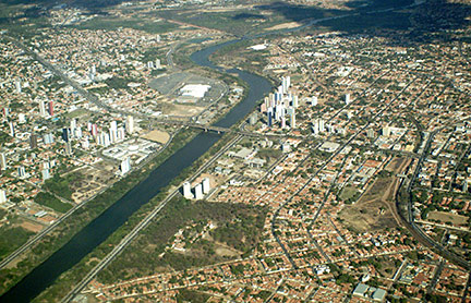 Aerial view of central business district of Teresina on Poti River, Piauí, Brazil