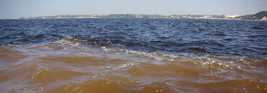 The Meeting of Waters: Rio Negro and Amazon River or Rio Solimões, Manaus, Brazil