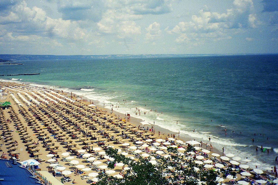 Beach at Golden Sands, a major seaside resort near Varna