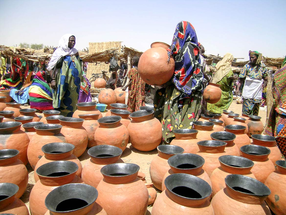 Songhay pottery on a market in Gorom-Gorom, Burkina Faso
