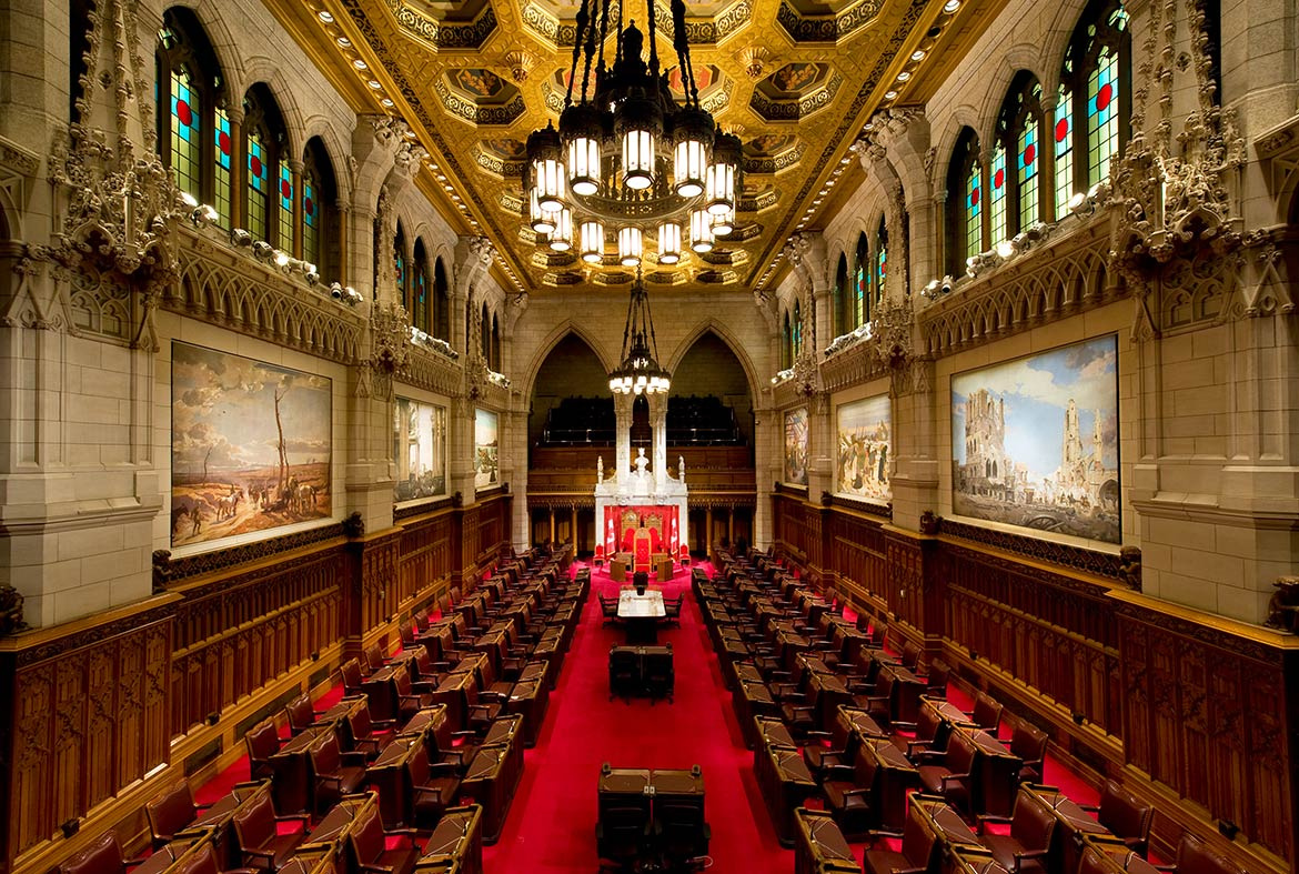 The three thrones in Canada's Senate chamber