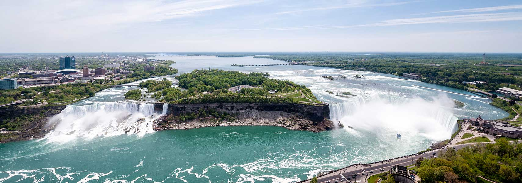 Niagara River and Niagara Falls, Bridal Veil (USA) and Horseshoe Falls (partly in Canada)
