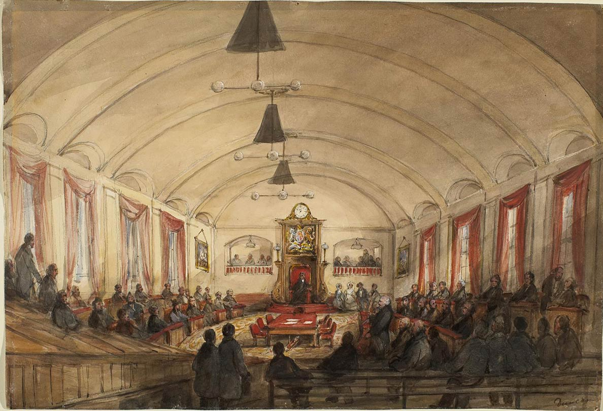 Interieur of the House of Assembly in the Parliament of Montreal, 1848.