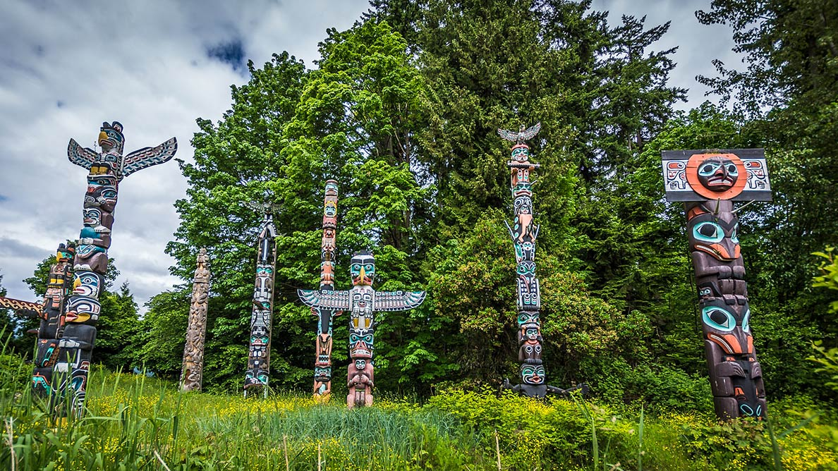 First Nations totem poles in Stanley Park, City of Vancouver
