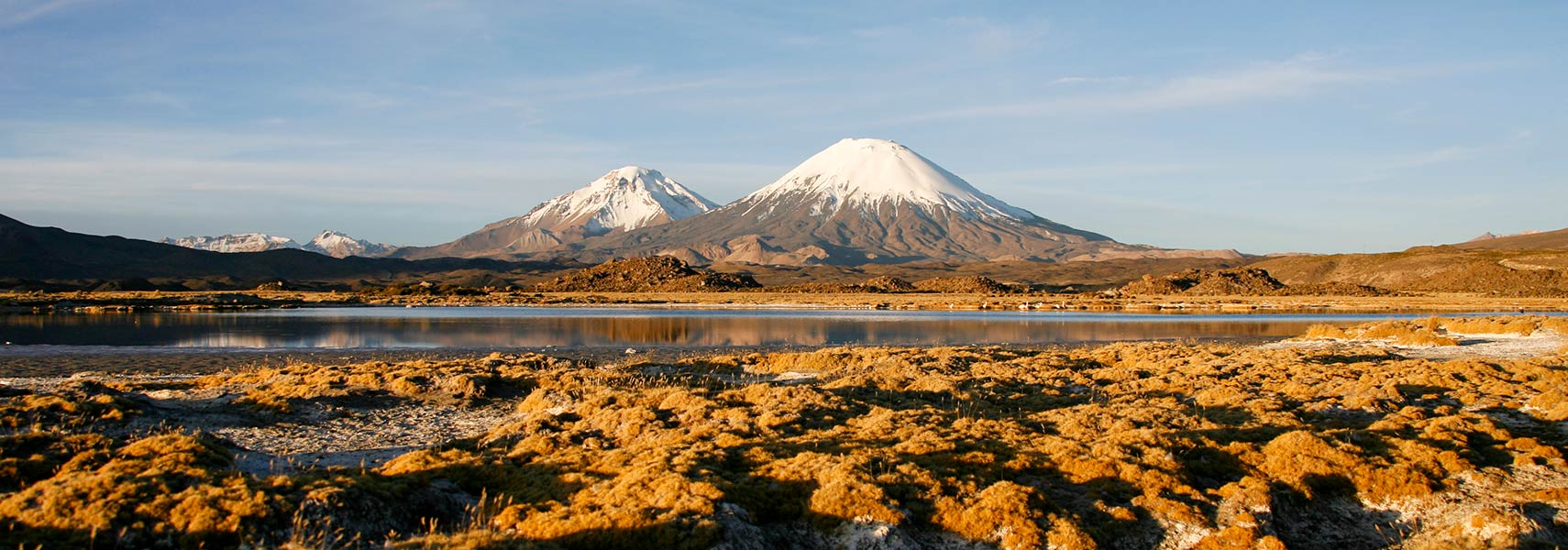 Parinacota Volcano and lake Chungara, Lauca National Park, Chile