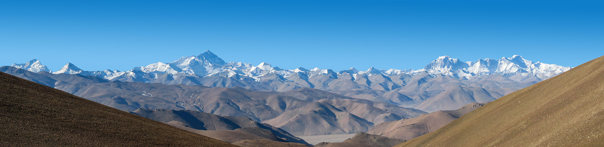 Panoramic view of the Himalayas with Mount Everest