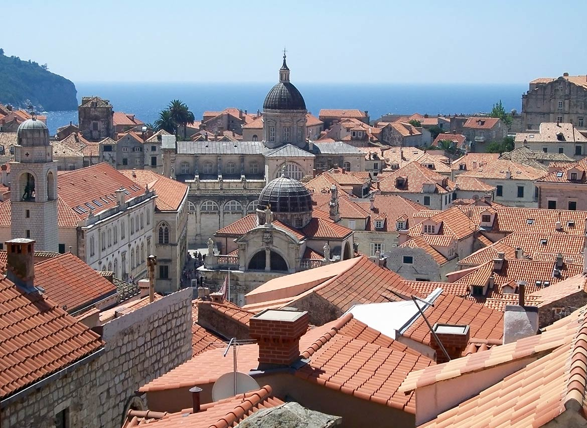 Dubrovnik, old city with catherdal and church