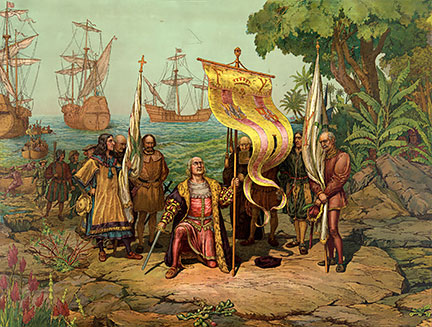 Columbus arrives in America