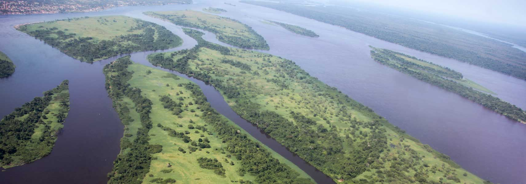 Aerial view of the Congo River near Kisangani, capital of Orientale Province, Democratic Republic of the Congo
