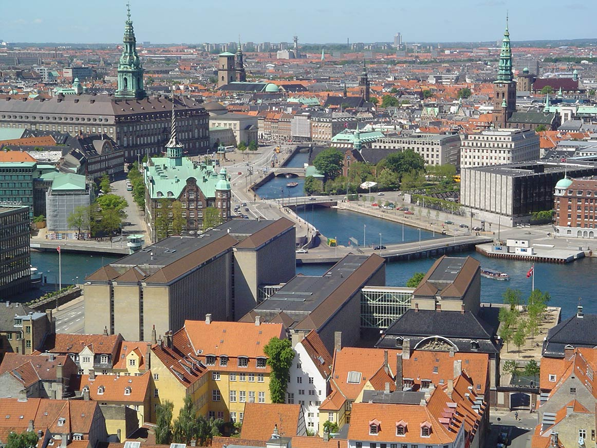Copenhagen, Denmarks largest city and capital, seen from Vor Frelsers church