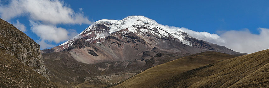 Chimborazo volcano in the Cordillera Occidental, Andes, Ecuador
