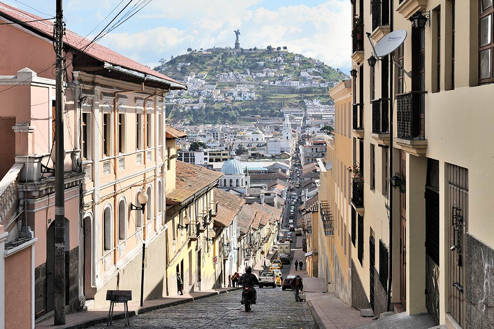 View of Quito's old town with El Panecillo hill