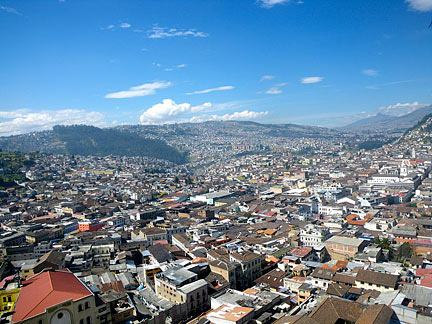 View of Quito's old town from the Basílica del Voto Nacional