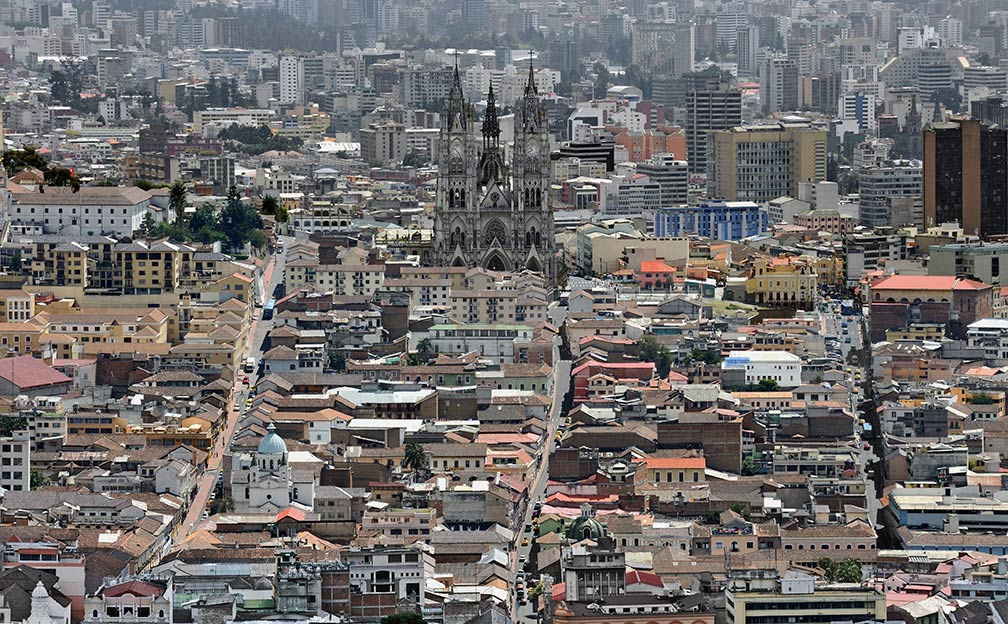 Quito, Historic Center, as seen from El Panecillo, with Basílica del Voto Nacional in the center