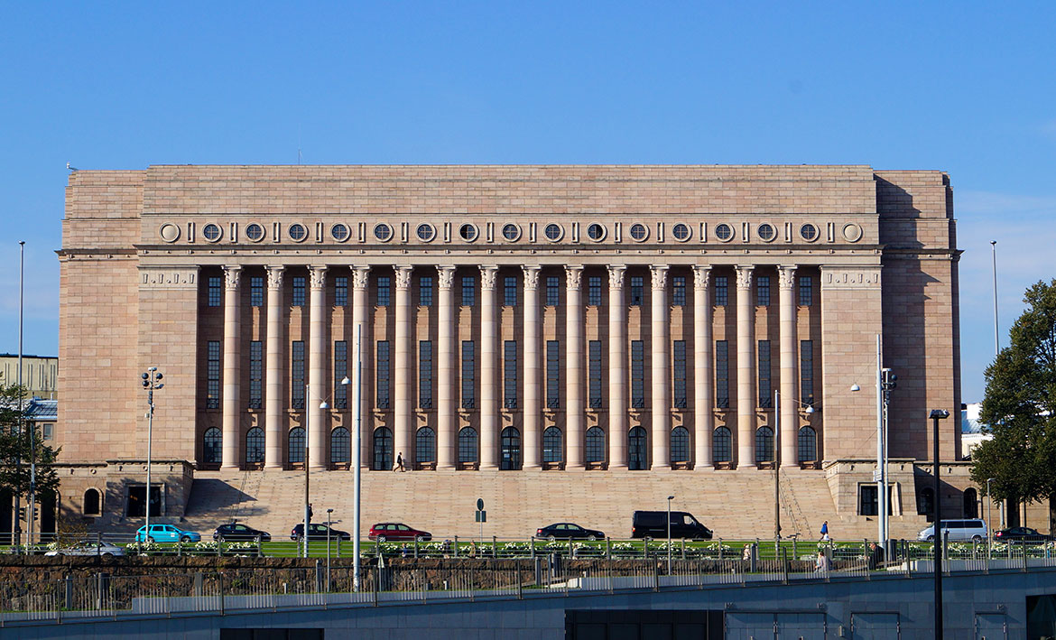Finnish Parliament House in Helsinki, Finland