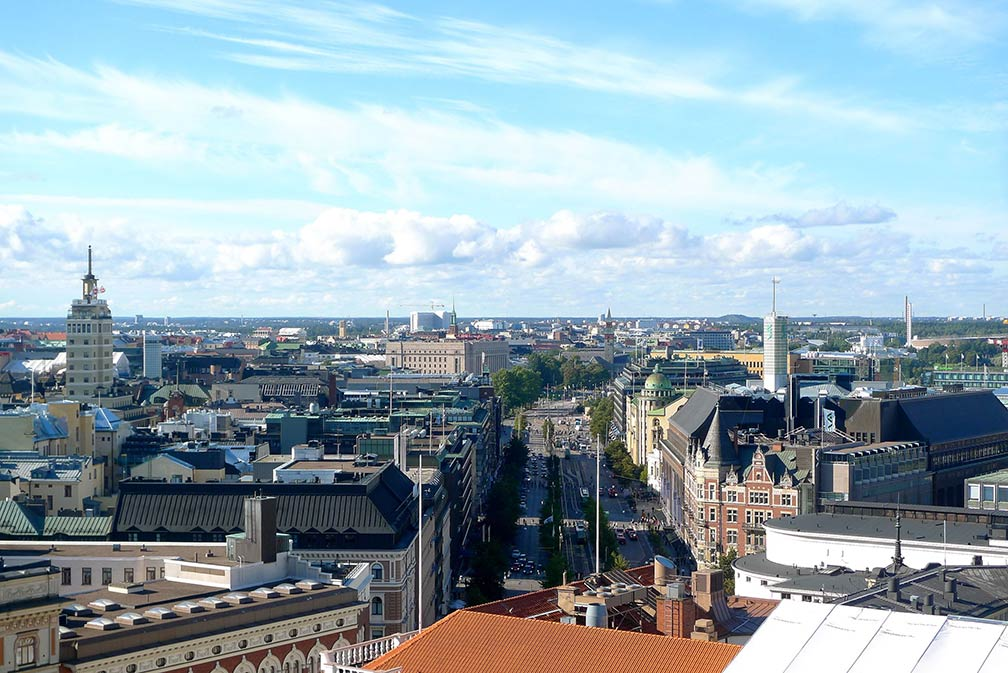 Central Helsinki and Mannerheimintie road, seen from Erottaja Fire Station.