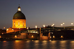 Dome of Hopital de la Grave and Saint Pierre bridge, Toulouse