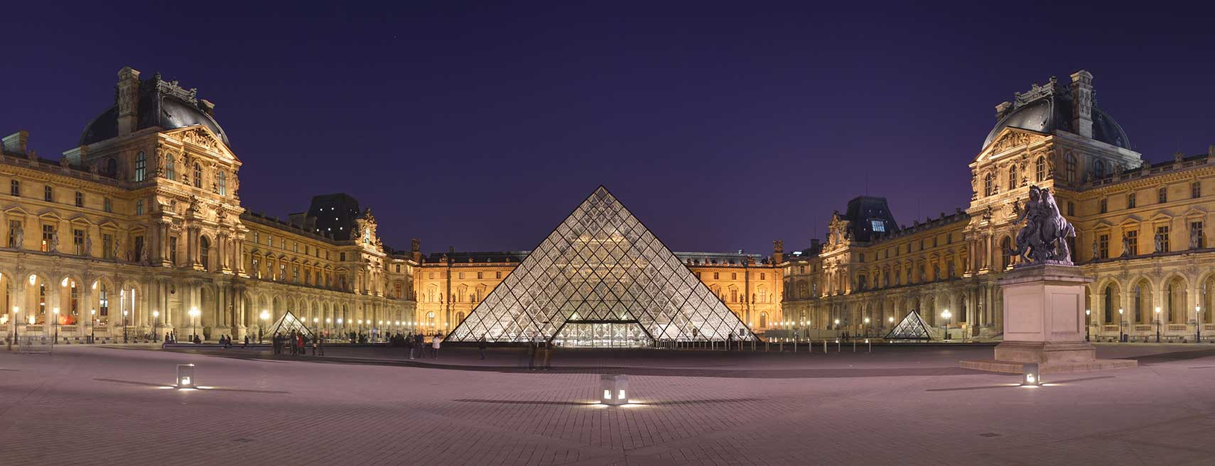 Courtyard of the Louvre Museum with glass pyramid, Paris, France