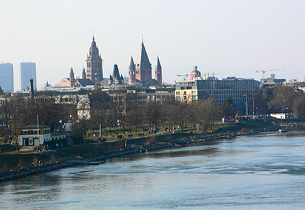 Mainz at Rhine river