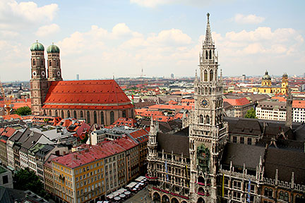 Munich, Frauenkirche (left) and the New Town Hall at Marienplatz from Peterskirche, Bavaria