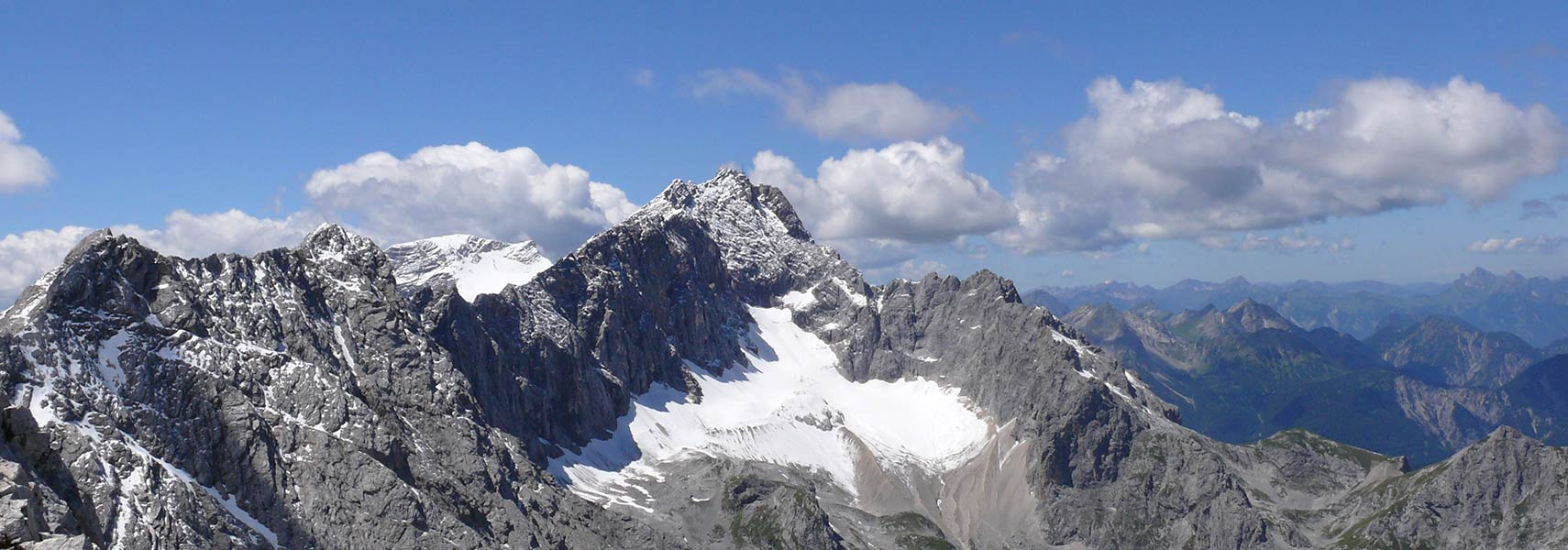 Zugspitze summit and Höllentalferner glacier, highest mountain in Germany